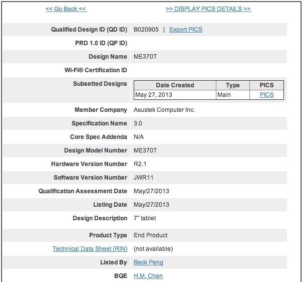 nexus 7 android 4-3 bluetooth sig