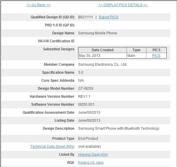 Galaxy Nexus BT SIG