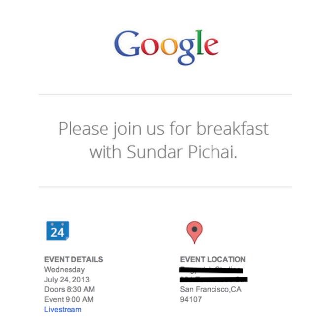 google breakfast sundar pichai android 4.3