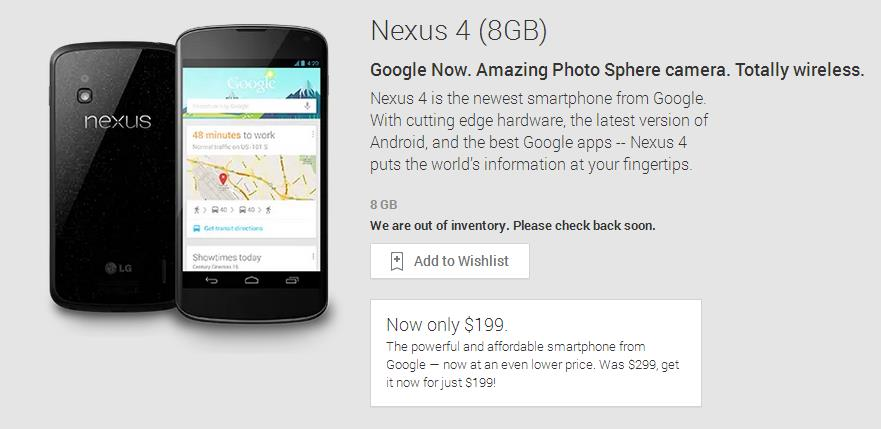 Nexus 4 199 sold out