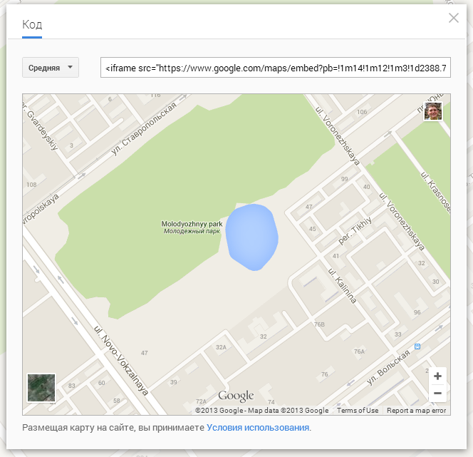 Google Maps code