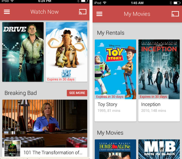 google play movies tv iOS