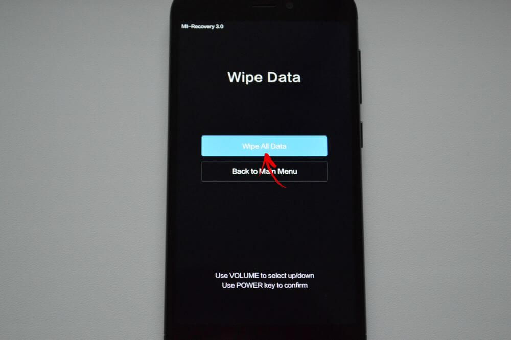 wipe all data mi recovey